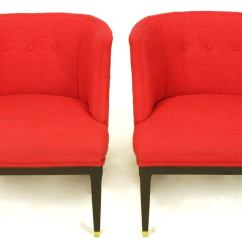 Red Wing Chair Office Keeps Sinking Down Pair Of Button Tufted Wool And Dark Walnut Pull Up