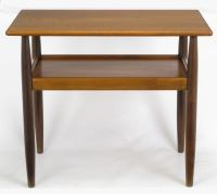 Rectangular Walnut and Teak Two-Tier End Table at 1stdibs