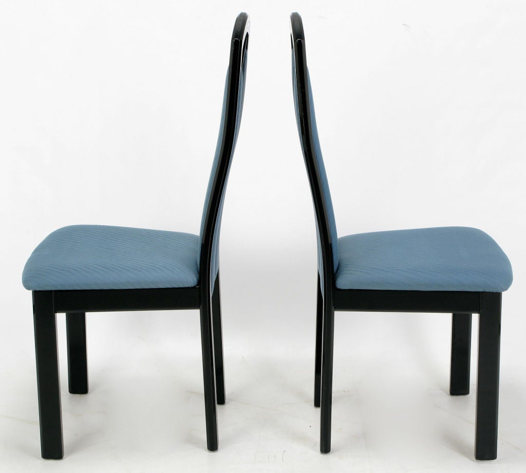 Italian Dining Chairs Wolf Bandelow Black Lacquer And Cadet Blue Italian Dining