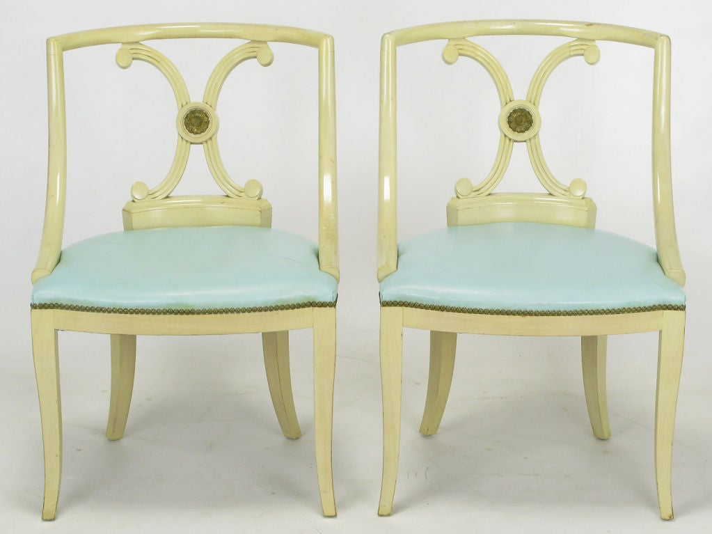 Six Renzo Rutili Ivory Lacquer And Robin's Egg Blue Dining