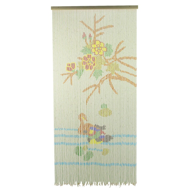 1940s Beaded Curtain Or Tapestry Depicting Flora And Fauna