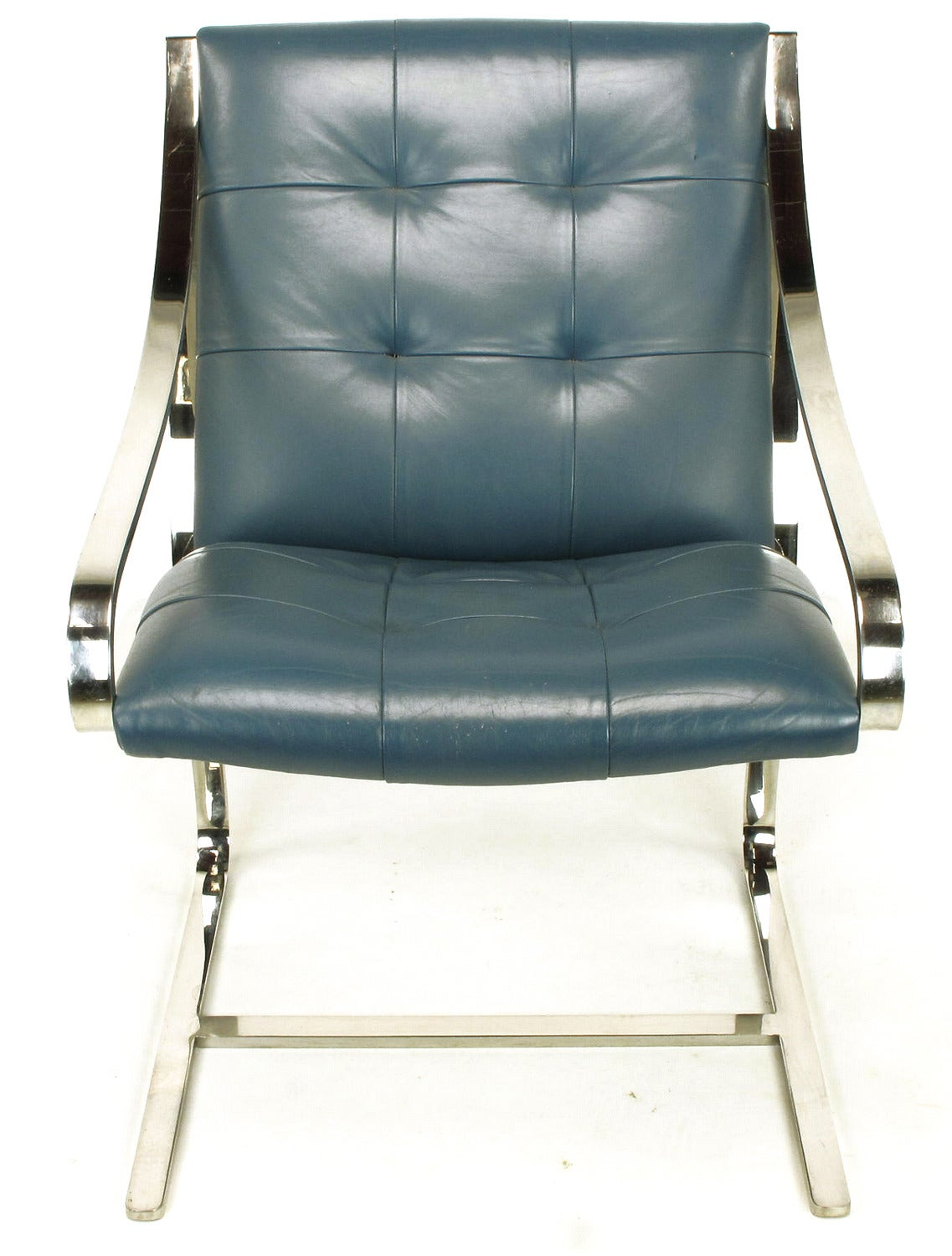 Blue Leather Club Chair Four Bert England For Brueton Polished Steel And Cadet
