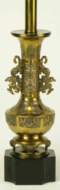 Pair Brass Chinese Footed Urn Table Lamp With Dragon ...