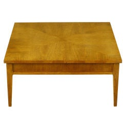 Round Baker Brass And Walnut Sunburst Coffee Table For