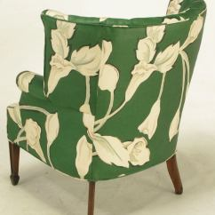 Floral Upholstered Chair Wedding Rental Pair Curved And Channelback Wing Chairs At 1stdibs For Sale 3