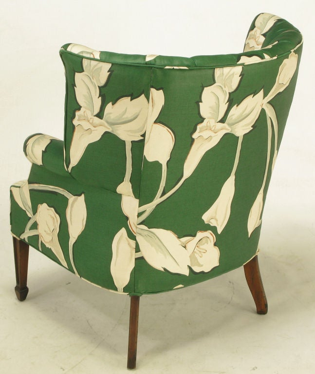 floral upholstered chair queen anne side chairs cherry pair curved and channelback wing at 1stdibs for sale 3