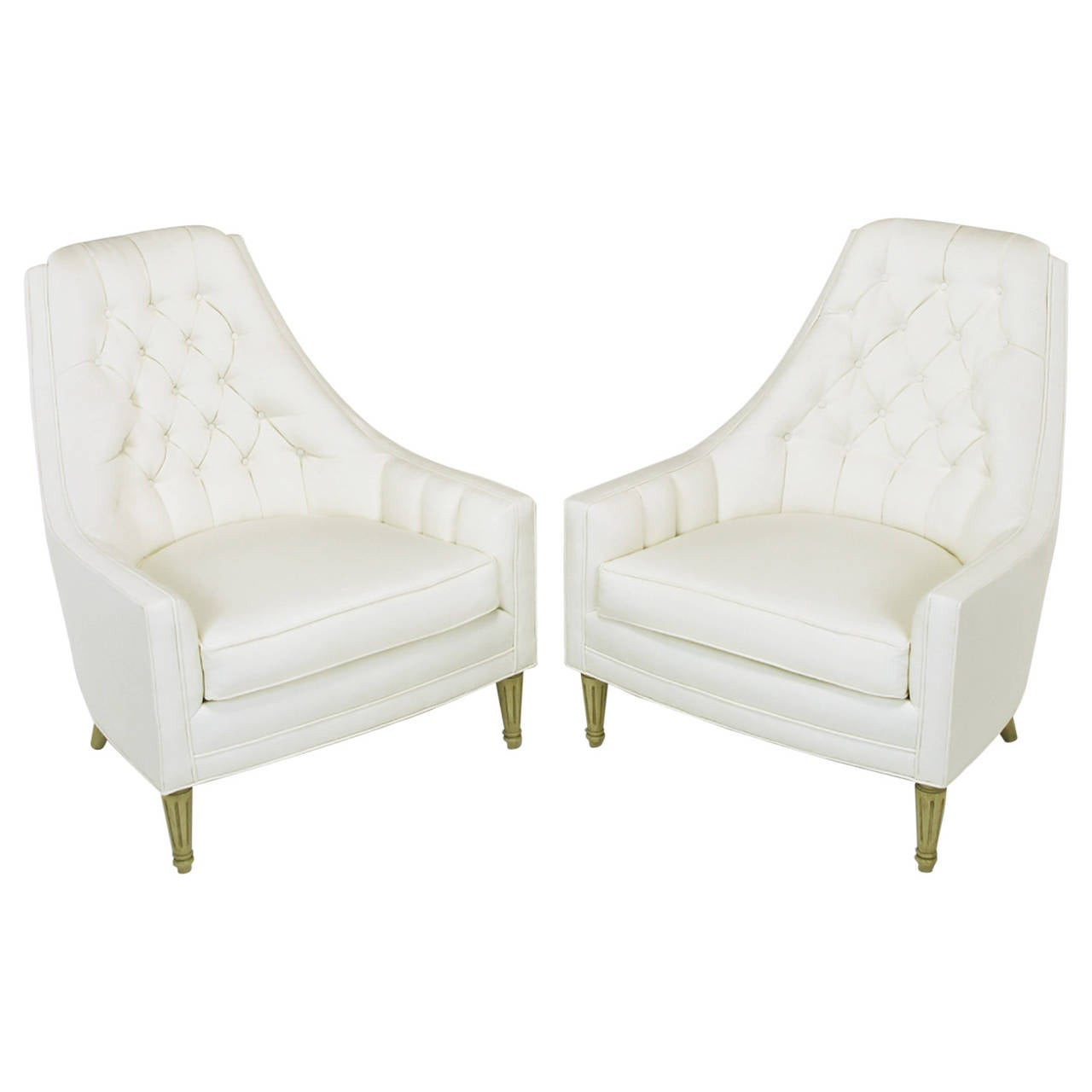 Tufted High Back Chair Pair Of Elegant High Back Button Tufted White Linen Lounge Chairs
