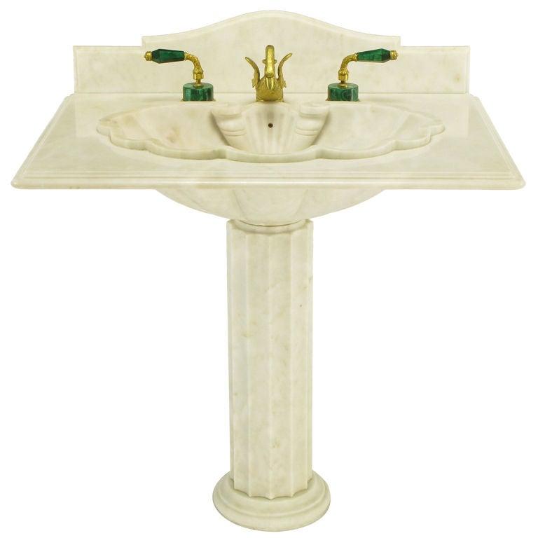 Vintage Sherle Wagner Marble Shell Pedestal Sink. at 1stdibs