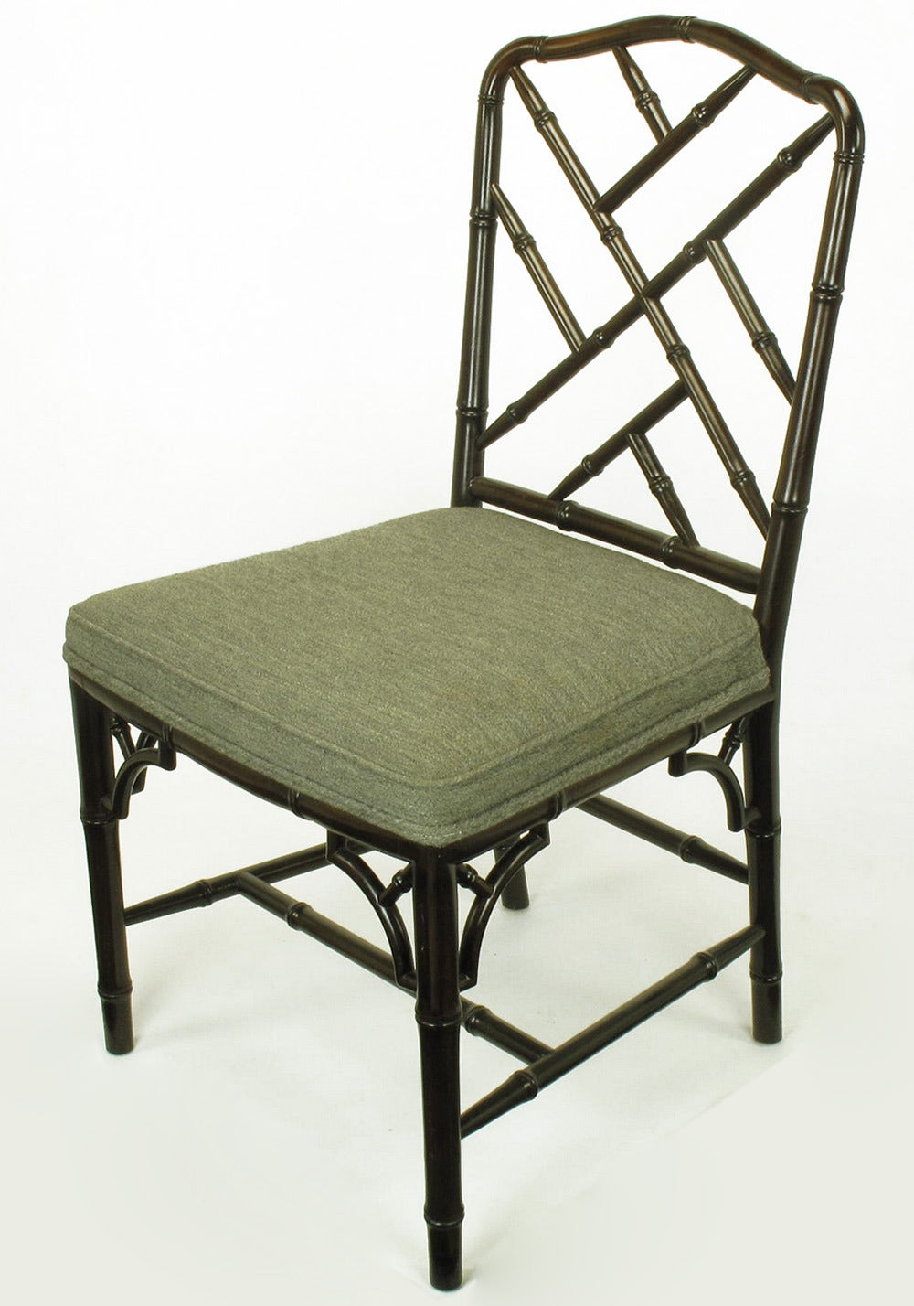 Dark Walnut Chinese Chippendale Faux Bamboo Desk Chair at