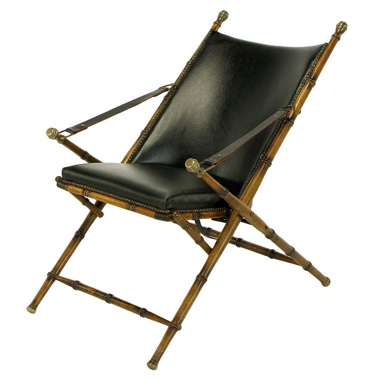 Italian Campaign Chair in Black Leather For Sale at 1stdibs