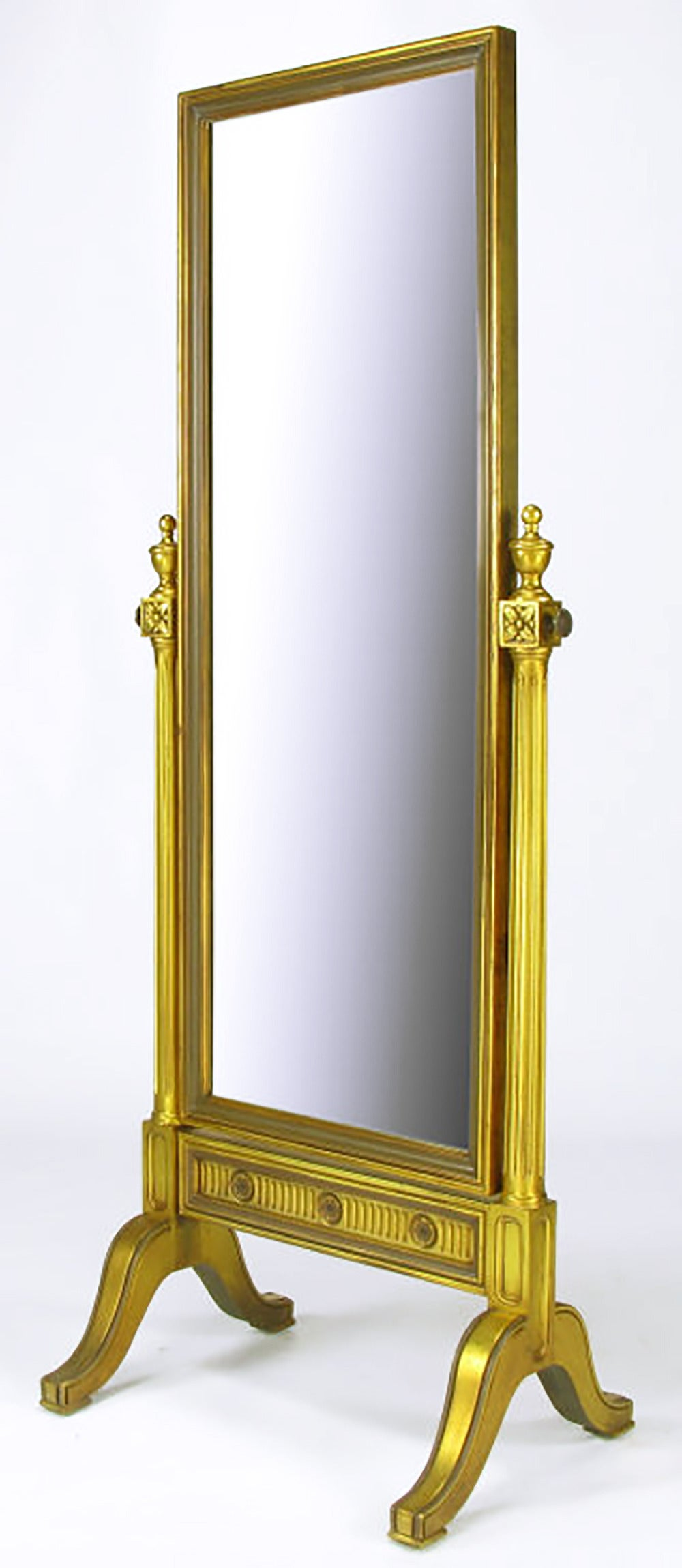 Gilt Wood Neoclassical Full Length Cheval Floor Mirror For Sale at 1stdibs