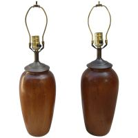 Pair of Solid Wood Gourd Shaped Lamps at 1stdibs