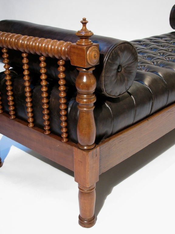 A French Tufted Leather And Walnut Daybed Bench At 1stdibs