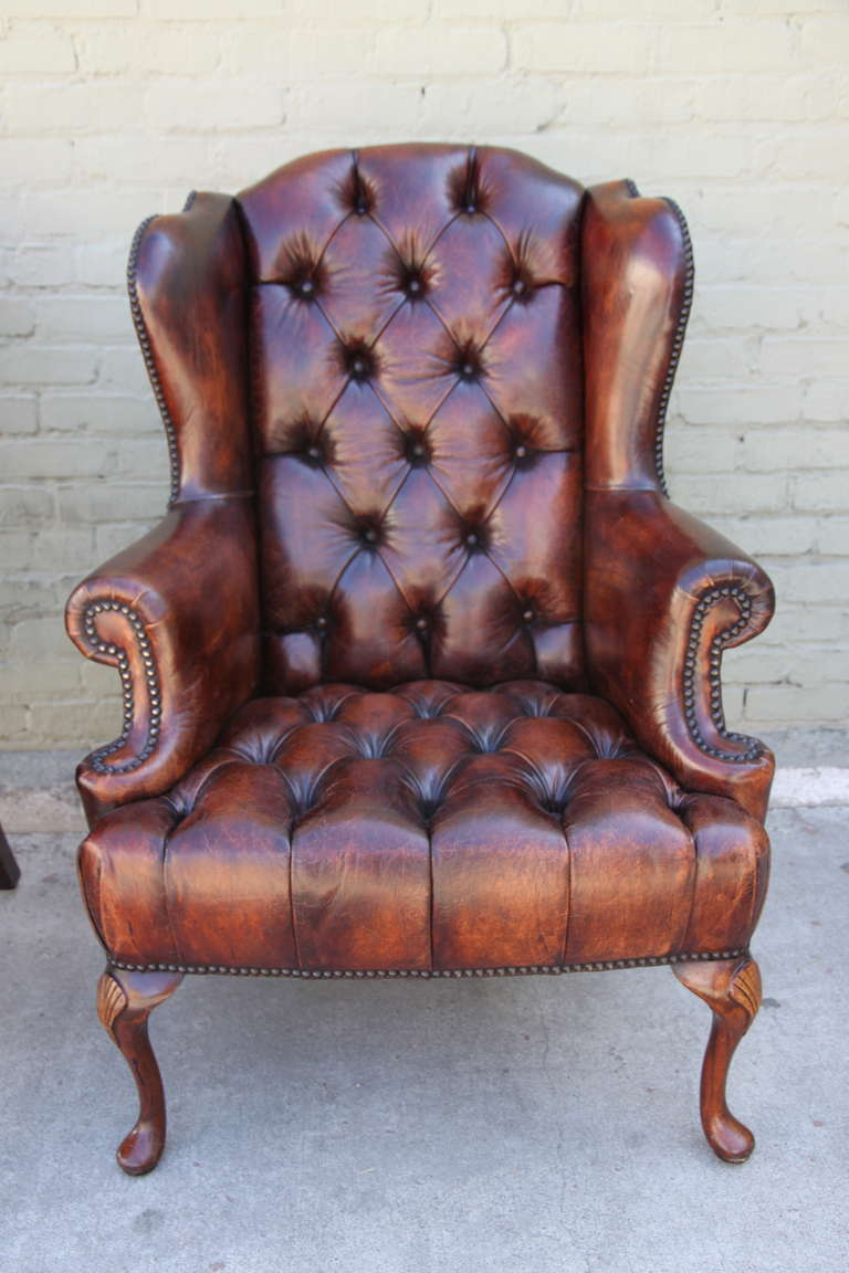 Wingback Tufted Chair Pair Of French Leather Tufted Wingback Chairs