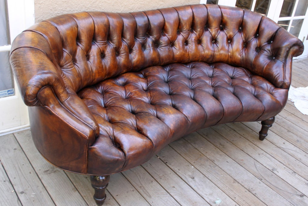 tufted leather sofa with rolled arms paletten auflagen unique c. 1920's at 1stdibs