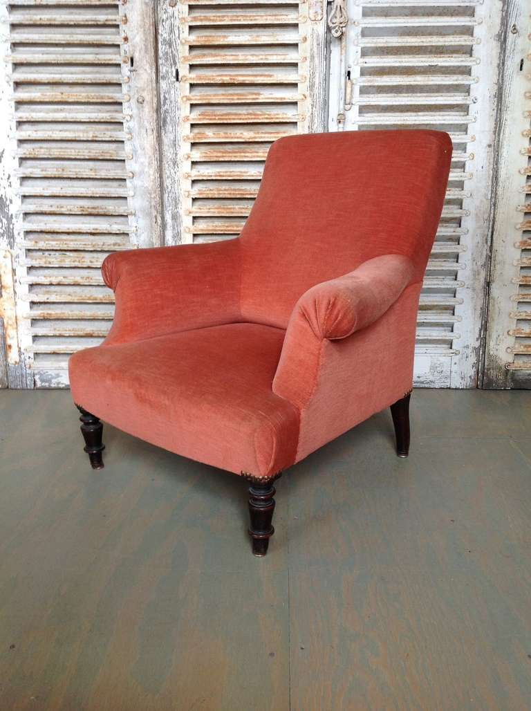 bergere chairs for sale chair covers south africa french armchair in salmon colored velvet at 1stdibs