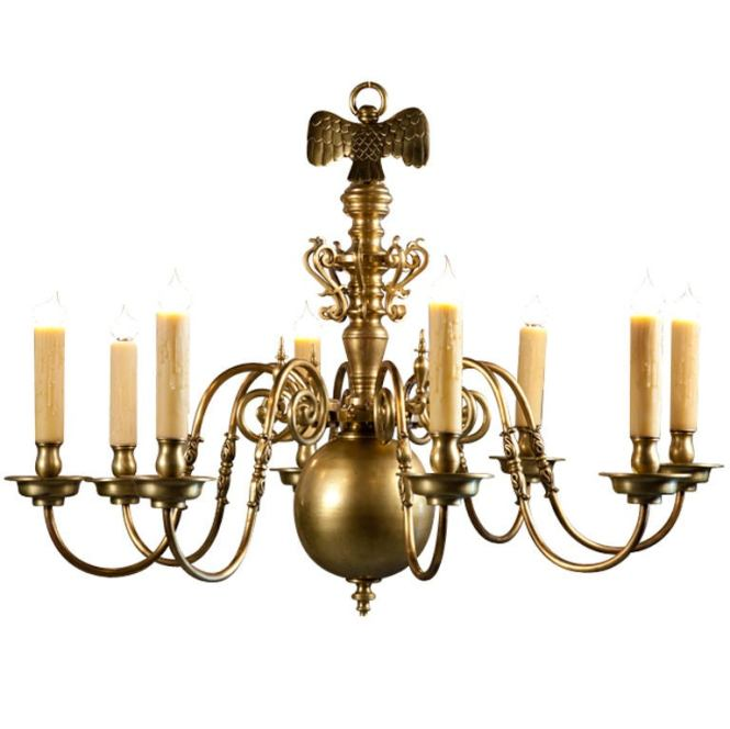 Heavy Bronze Flemish Chandelier With 8 Arms And Eagle 1
