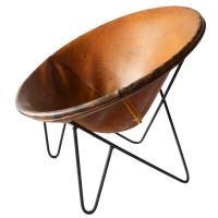 Vintage Leather Disc Chair at 1stdibs