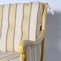 Yellow Bamboo Chair With Striped Fabric, C. 1960 at 1stdibs