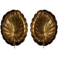 Pair of Brass Palm Leaf Candelabra Sconces at 1stdibs