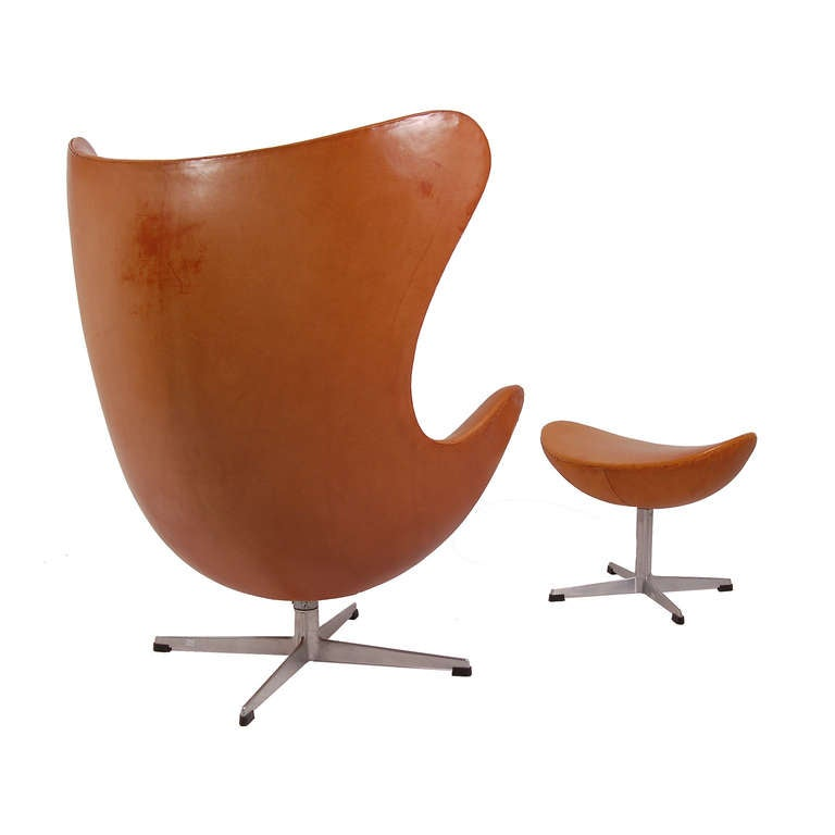 Early and Original Egg Chair and Ottoman by Arne Jacobsen