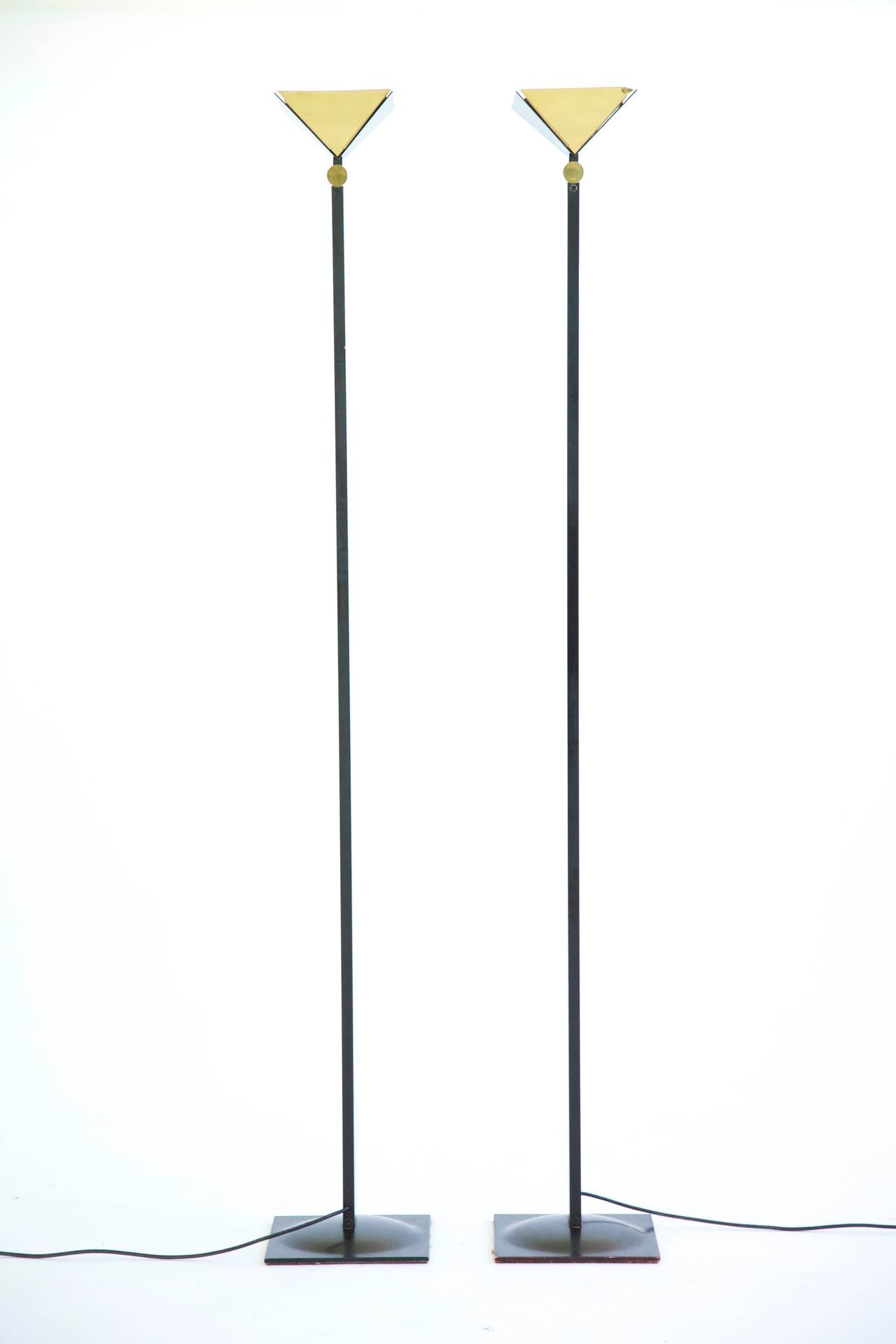 Pair of Torchiere Floor Lamps For Sale at 1stdibs