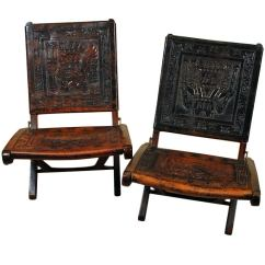 Black Leather Wingback Chair Blue Office Pair Of Good Vintage Mexican Butaque Campeche Chairs - Circa 1940's At 1stdibs