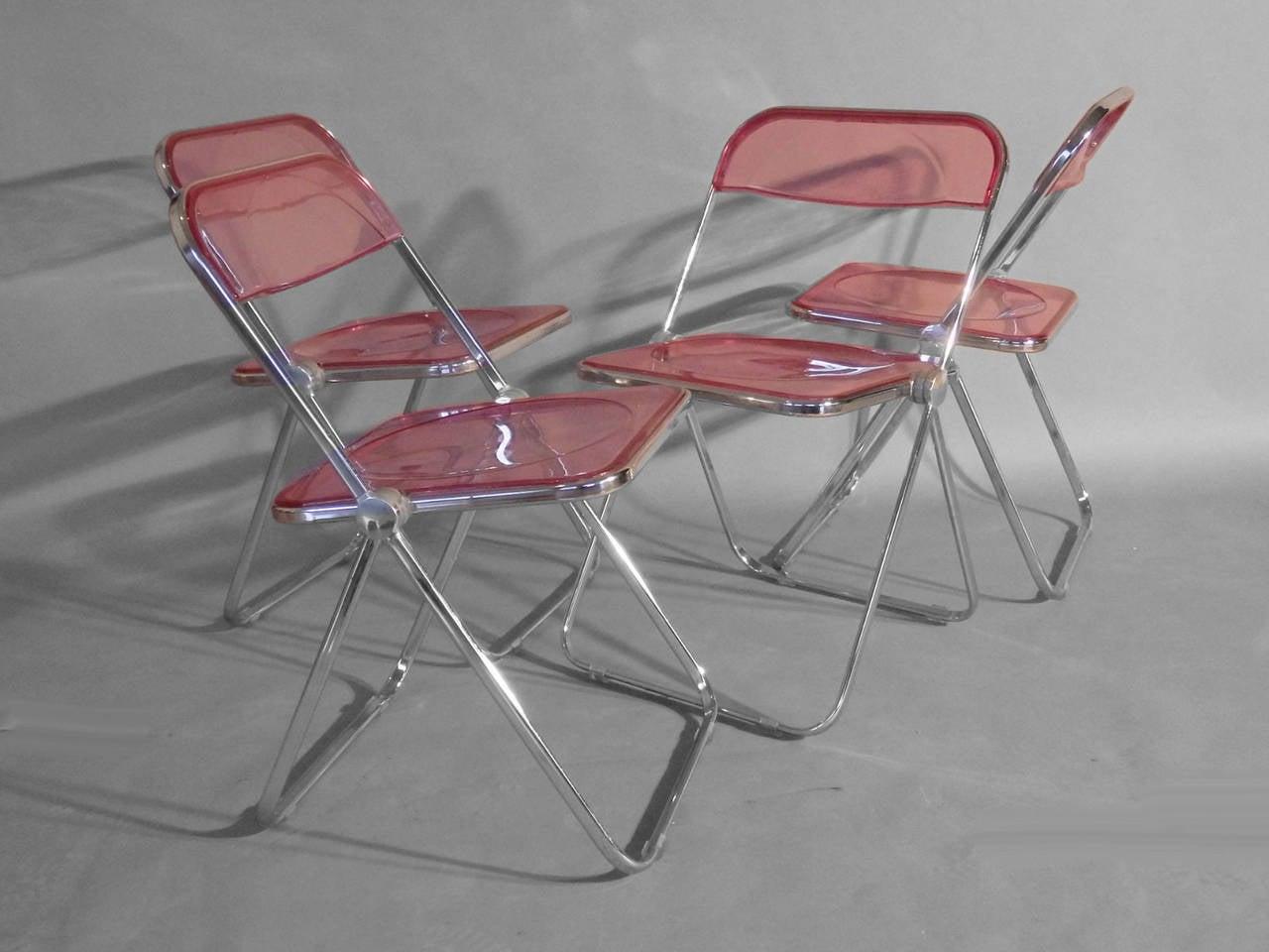 krueger folding chairs bruno chair lift maintenance set of four plia lucite aluminum and chrome