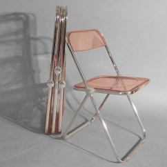 Krueger Folding Chairs Big Lots Chair And Ottoman Set Of Four Plia Lucite Aluminum Chrome