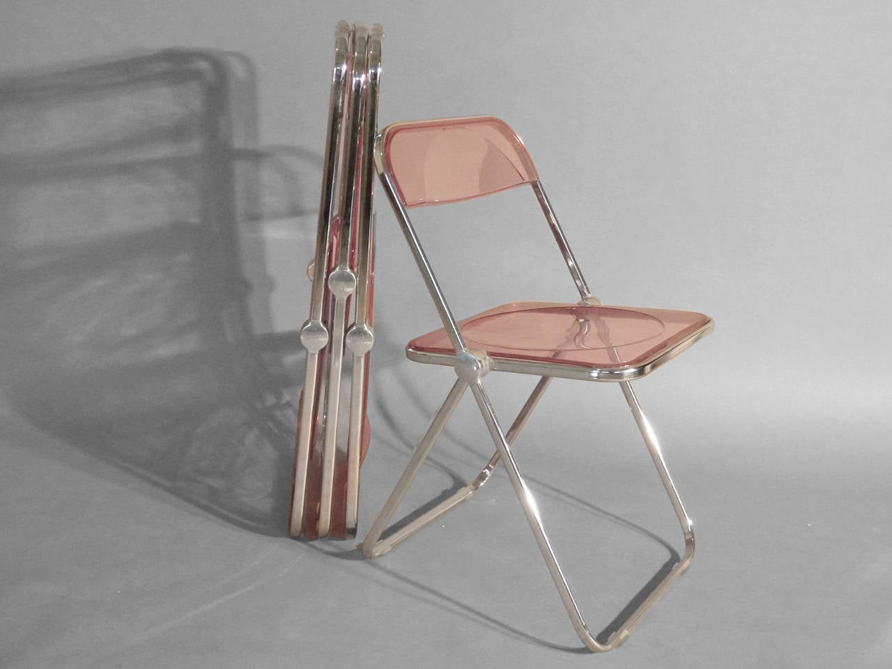 Lucite Folding Chairs Set Of Four Plia Lucite Aluminum And Chrome Folding
