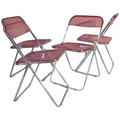 Krueger Folding Chairs Dining Table And Hong Kong Set Of Four Plia Lucite Aluminum Chrome At 1stdibs For Sale