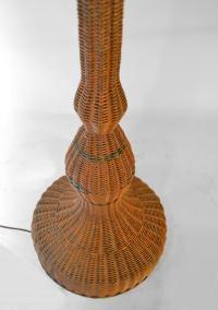 Wicker Floor Lamp impressive scale. at 1stdibs