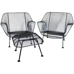 Wrought Iron Chair Wingback Leather Pair Of Woodard With Mesh Lounge Chairs At