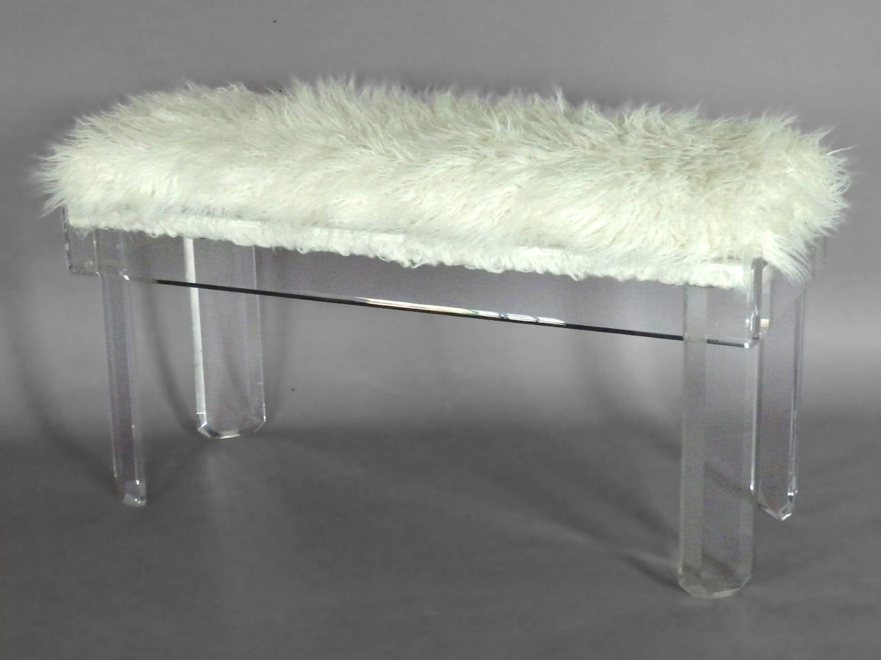 Faux Sheepskin Covered Lucite Bench For Sale At 1stdibs