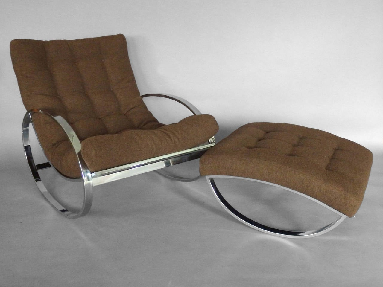 Tube Chair Chrome Tube Milo Baughman Style Rocker With Ottoman In