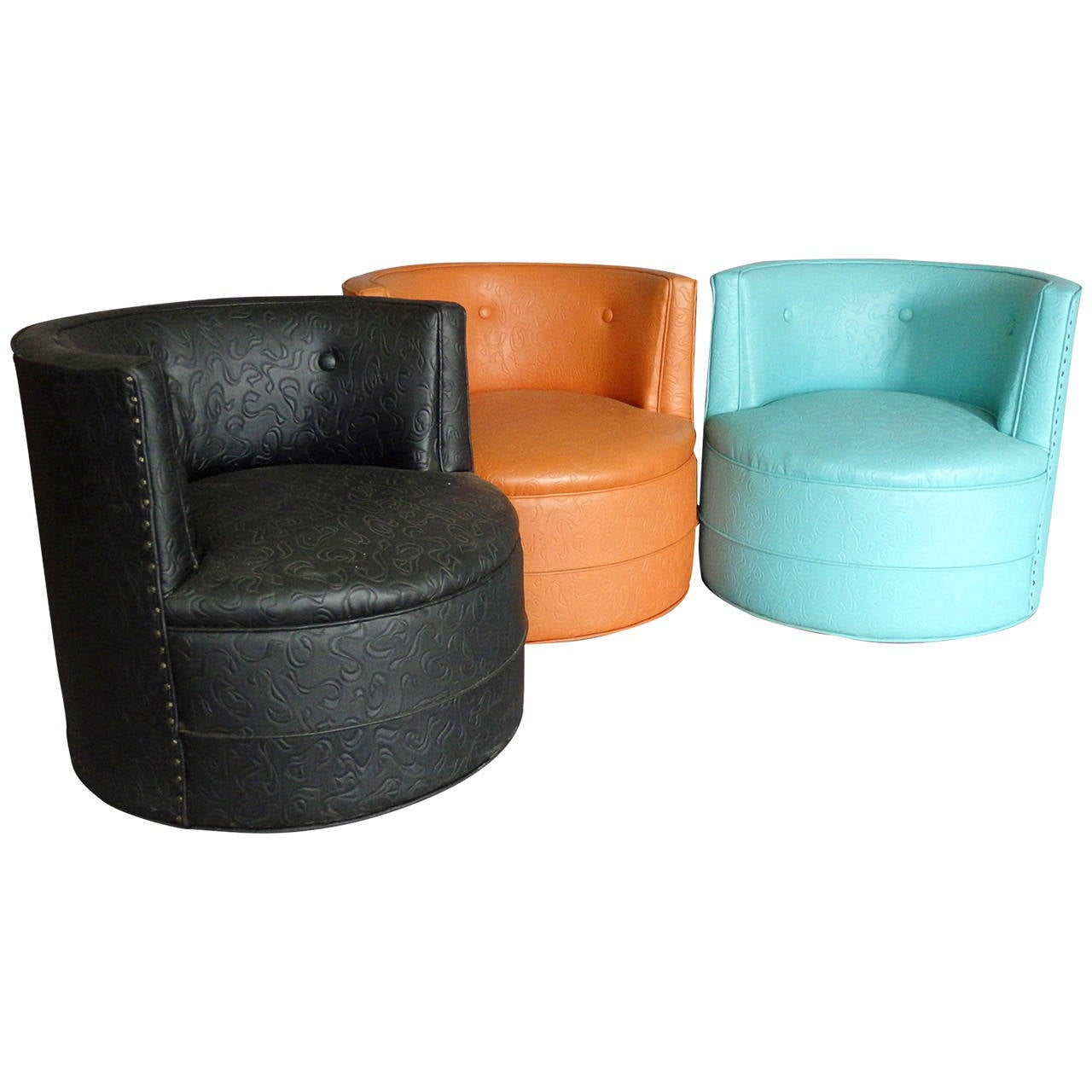 Barrel Chair Swivel Three Barrel Back Swivel Lounge Chairs At 1stdibs