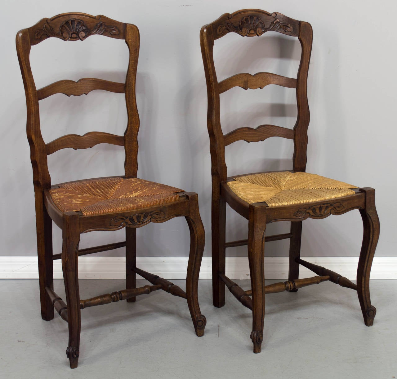 rush seat chairs bungee cord chair target set of six french country at 1stdibs