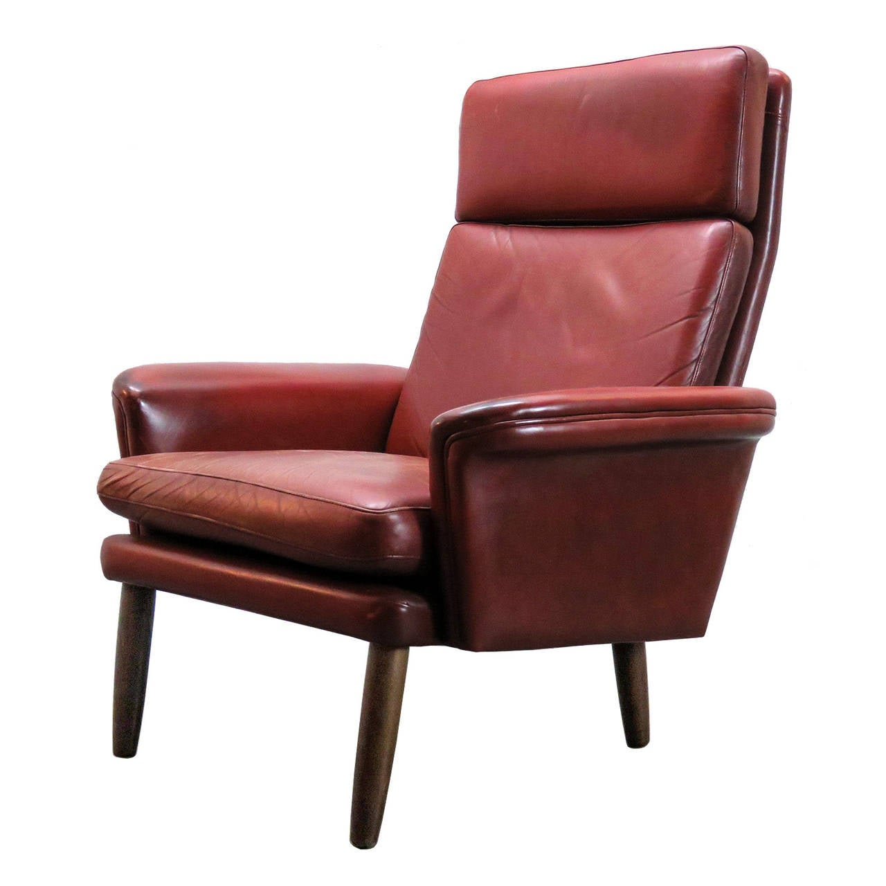 High Back Lounge Chair Danish High Back Leather Lounge Chair For Sale At 1stdibs