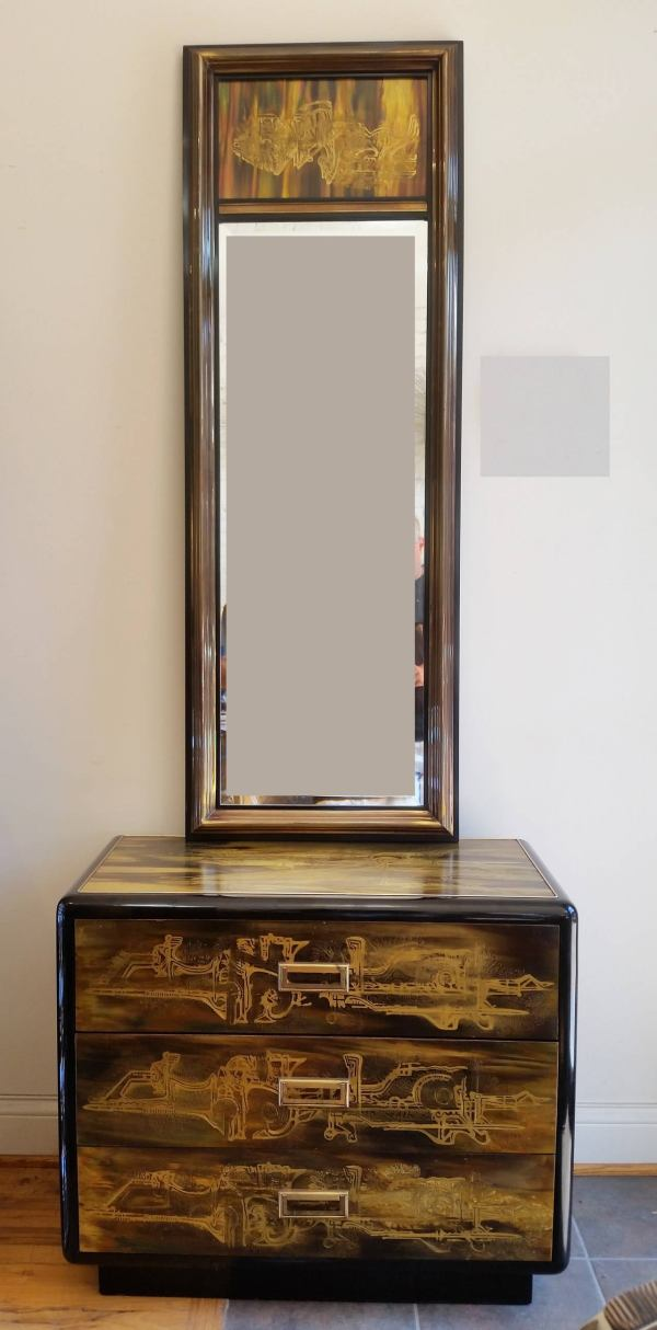 Vintage Mid-century Modern Mirror And Chest Of Drawers