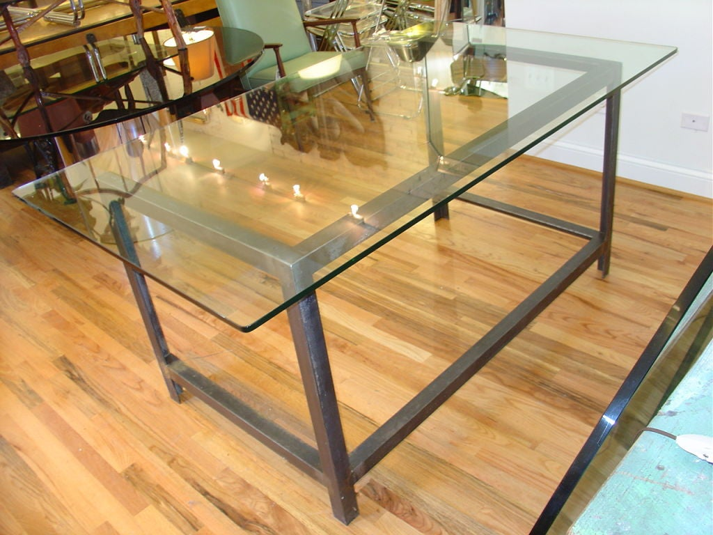 bench style kitchen tables cabinets ct glass top industrial table or desk at 1stdibs