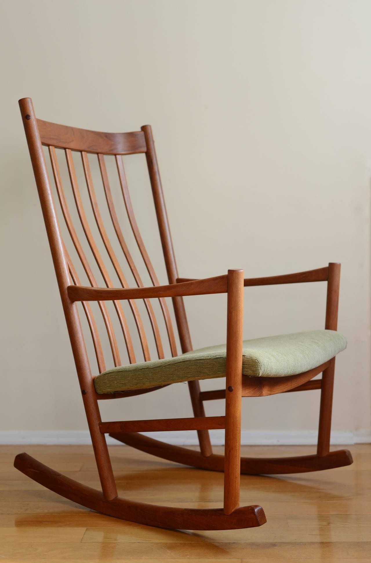 hans wegner rocking chair small chaise lounge chairs for bedroom uk teak at 1stdibs tarm stole denmark 1965 upholstery