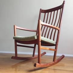 Hans Wegner Rocking Chair Tufted Nailhead Teak At 1stdibs