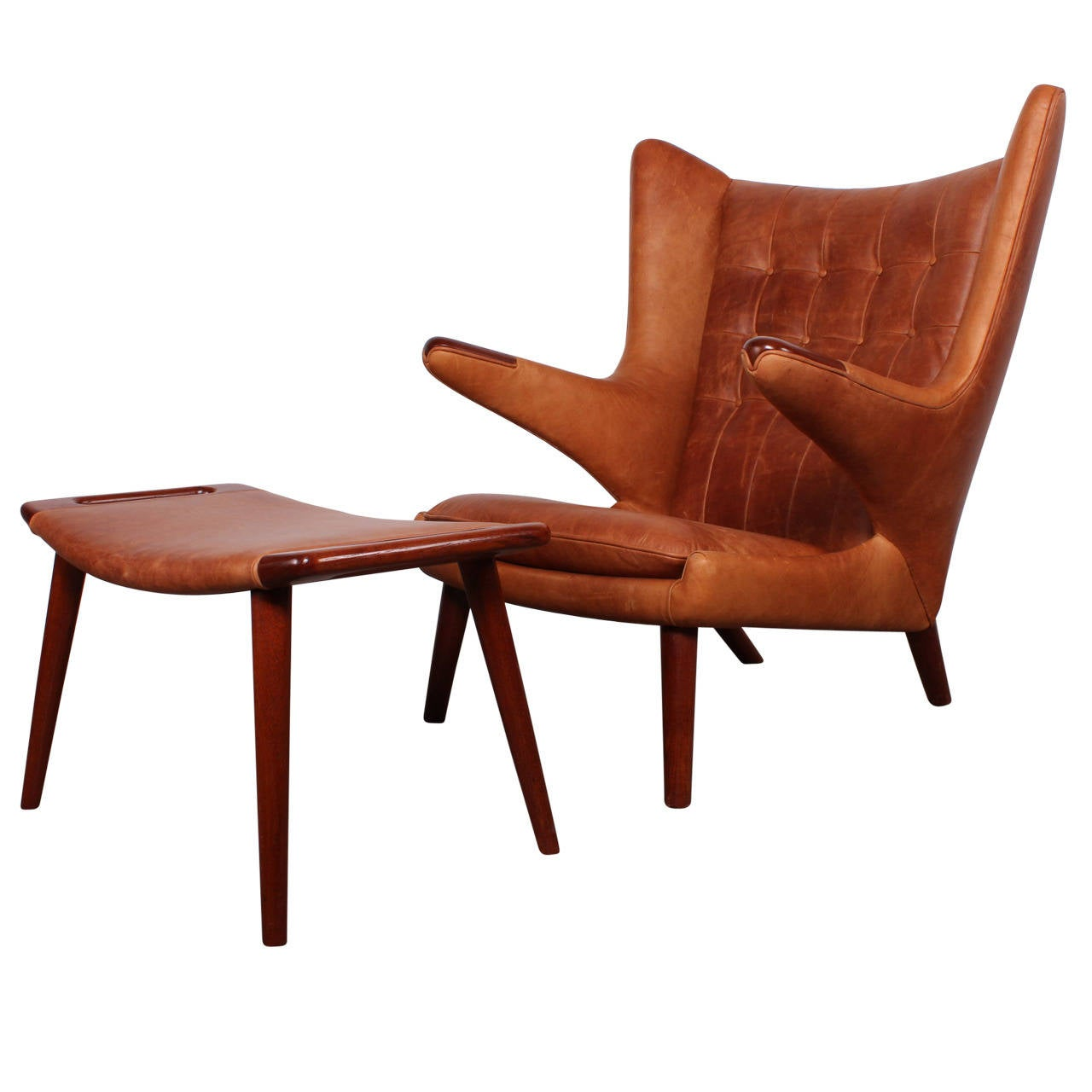 Papa Bear Chair Leather Papa Bear Chair And Ottoman By Hans Wegner At 1stdibs