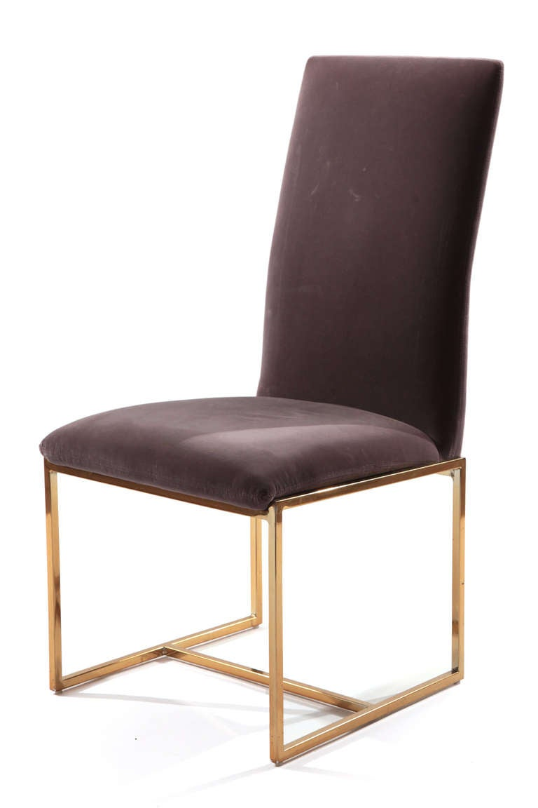 scoop back upholstered dining chairs linen banquet chair covers 6 milo baughman thayer coggin brass at 1stdibs