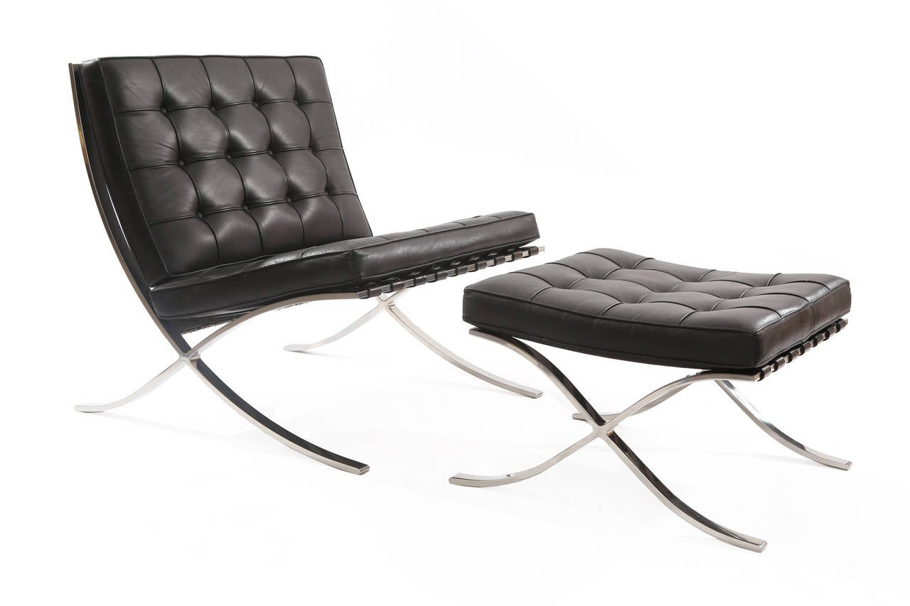 mies van der rohe barcelona chair fx covers eu early pair of knoll chairs and ottoman by
