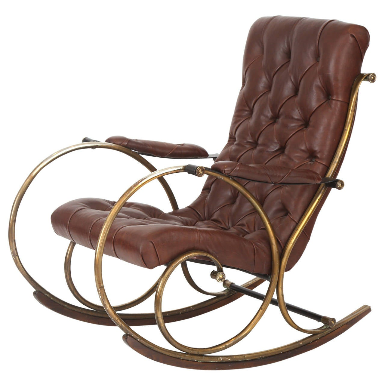Leather Rocking Chair Leather Brass And Wood Rocking Chair By Woodard