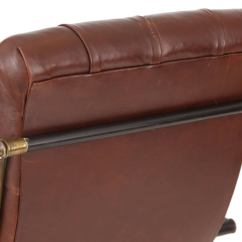 Rocking Chair Leather And Wood Covers Gorey Brass By Woodard For Sale