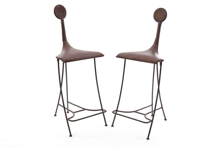 Pair of Iron Tooled Leather and Ceramic Studio Barstools