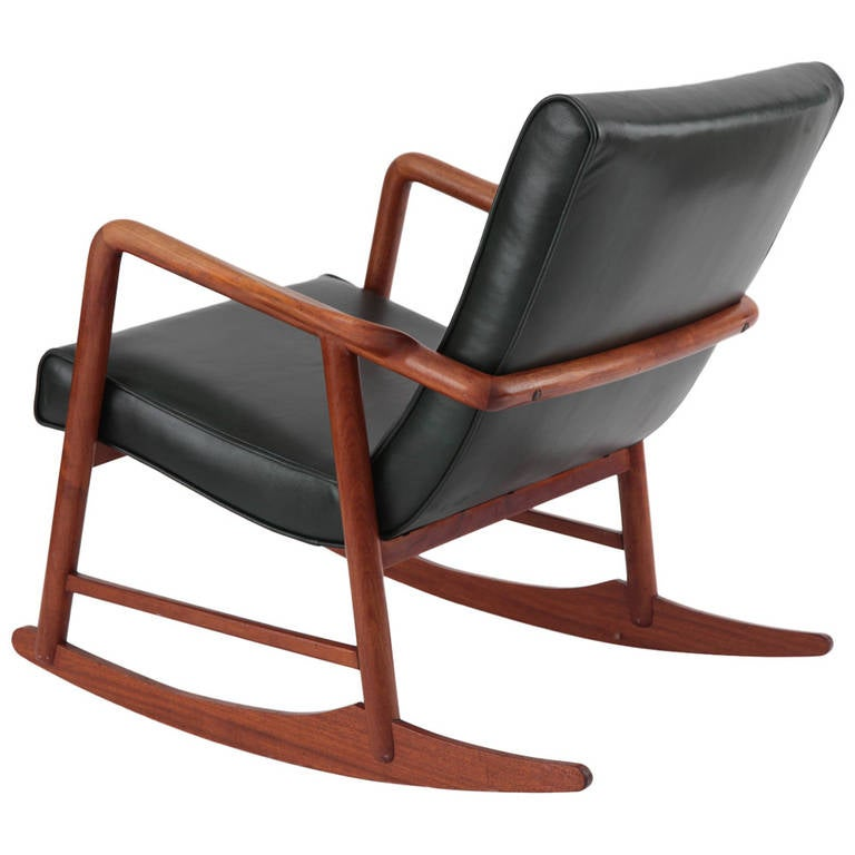Sculptural Teak and Leather Danish Rocking Chair at 1stdibs