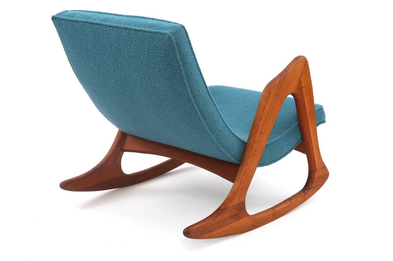 adrian pearsall rocking chair york swivel walnut and upholstered for